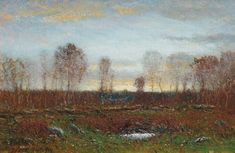 """October Evening,"" Dwight William Tryon, 1919-1920, oil on panel, 6 1/2 x 10 1/4"", Cooley Gallery."
