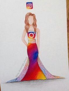 Pretty Drawings, Amazing Drawings, Love Drawings, Amazing Art, Awesome, New Instagram Logo, App Drawings, Social Media Art, Art Design