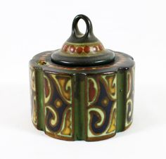 """GOUDA POTTERY INKWELL.- Gouda Pottery Holland Art & Crafts inkwell. 3 1/4"""" tall."""