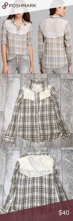 🎉SALE Free People Saddle Up lace yoke plaid shirt Free People Saddle Up lace yoke button down shirt. Brown plaid. Super cute style! EUC- no flaws. Size XS Free People Tops Button Down Shirts