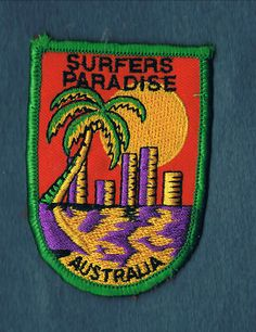 A lovely embroidered Cloth Patch of 'Surfers Paradise' on the Gold Coast, Queensland, Australia. This one sold for just $4.80.