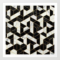 Buy Black and White Marble Hexagonal Pattern Art Print by calacatta. Worldwide shipping available at Society6.com. Just one of millions of high quality products available.