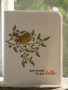 Berry Bird our sweet bird has devoured his berries and has flown back to the berry bush for more. (I think he also ate the last ant that tried to climb the branch!)  My card uses the wildberry branch for our wee bird to land on. I used brown and orange to highlight the sentiment