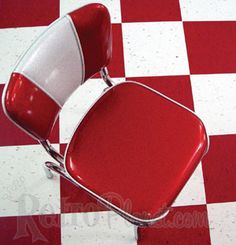 chair on checkered floor...