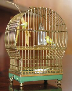 Miniature bird cage by Ursula Dyrbye-Skovsted. Amazing detail-- check out the millet spray! PHM