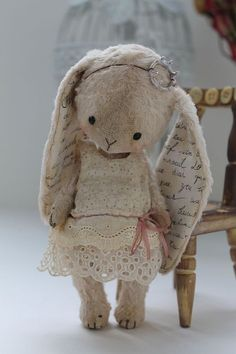Bunny cuteness!  I love the fabric with handwriting on!