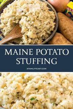 Part stuffing, part mashed potatoes – this Maine Potato Stuffing is a must-make side dish for the holidays! from A Family Feast ® https:. Tuna Recipes, Side Dish Recipes, Cooking Recipes, Healthy Recipes, Potato Recipes, Potato Dishes, Bread Recipes, Yummy Recipes, Chicken Recipes