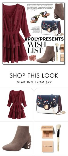 """""""#PolyPresents: Wish List"""" by fashion-pol ❤ liked on Polyvore featuring Bobbi Brown Cosmetics, Bare Escentuals, contestentry and polyPresents"""