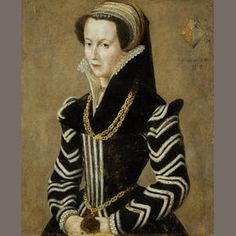 French School, 16th Century Portrait of a lady. I like the sleeves on this one! She is wearing a black velvet partlet. I wish I could see how the bodice edges were handled.