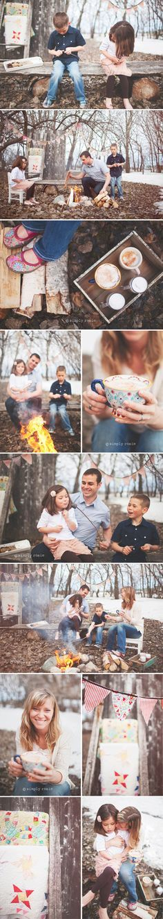 Simply Rosie Photography - Campfire family with hot cocoa and s'mores