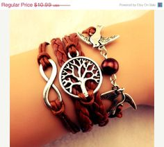 NEW Brown Tree of Life with Doves and Bead Bracelet, Infinity Charm, Cute Boho Jewelery, etsyinmotion, $9.89
