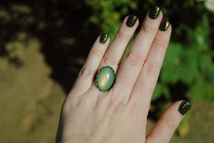 a England's Dragon- Oval Loopy Nail Polish Ring - Jewelry Women Teen Girl Gifts Under 20 Green Holographic