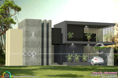 Sober colored 4 bedroom ultra modern 4 bedroom house plan in an area of 4800 square feet by Cogo Architects, Palakkad, Kerala. Simple House Design, House Front Design, Modern House Design, Indian Home Design, Kerala House Design, Contemporary House Plans, Contemporary Style, Free House Plans, Studio Apartment Layout