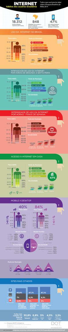 Infográfico traz o perfil do usuário de internet no Brasil