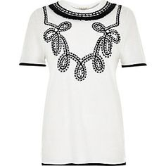 White embroidered neck t-shirt