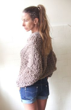 Get your Chunk on bamboo mix chunky sweater in Mushroom by ileaiye,