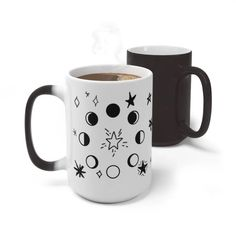 Get the entire Winter 2020 Collection in the Owls & Indigo Store. Bring a sense of magic and wonder to your breakfast table with this 15oz. new age mug! Changing color right before your eyes it brings a sense of fun and curiosity to those around you. This mug is the perfect way to enjoy your favorite warm drinks in style! Curl up with this magic mug and stay cozy at home with this beautiful enamel moon phase mug while you journal. #boho #giftideasforher #bohogift Star Magic, Camping Style, Star Gift, Modern Bohemian, Moon Phases, New Age, Stars And Moon, Curiosity, White Ceramics