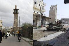 Le minaret de la mosquée d'Omar, vieille de plusieurs siècles, à Deraa, le 23 mars 2011 juste au début de la contestation antigouvernementale, puis le 14 avril 2013, après d'intenses bombardements.