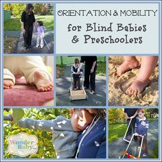 Orientation and Mobility for Blind Babies & Preschoolers with visual impairments. Pre-canes, travel routes, and more for young blind kids to access their environment. Kids Education, Special Education, Visually Impaired Activities, Baby Programs, Pediatric Ot, Toddler Development, Teaching Time, Special Needs Kids, Working With Children