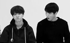 Words cannot describe this gif <--- Lemme try: Jimin pouting/pretending to be a fish/simply being the squishy smol thing he is/staring at something and Jungkook yawning innocently/about to look at Jimin/tired/just adorable full stop