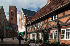 Old Town of Ribe with a half-timbered house, Ribe, Jutland, Denmark. Mom and I had a terrific traditional Danish dinner in this restaurant, October 2014.
