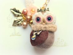 Needle felted owl bag charm handmade whimsical owl by NozomiCrafts, $23.00