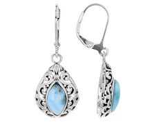 10X5mm Marquise Cabochon Larimar Sterling Silver Dangle Earrings