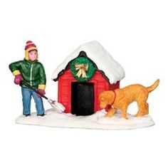 (From savers) Lemax Vail Village Digging Out The Doghouse Christmas Figurine #42231
