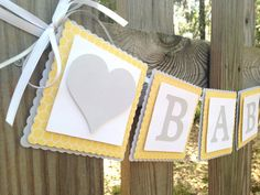 Baby Banner - Yellow and Grey Baby Shower - Yellow and Grey Nursery - Bee Theme Baby Shower - Gender Neutral Baby Shower via Etsy