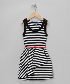 Take a look at this Black & White Stripe Belted Dress on zulily today!
