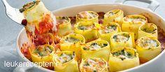 ovenschotel met pasta rolletjes