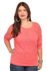 Twist Tees - Coral Allover Lace Pullover | Basics