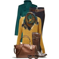 """""""Teal, Yellow and Brown"""" by jaycee0220 on Polyvore"""