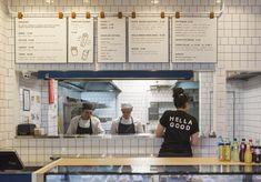 Hella Good Souvlaki Opens in the CBD - Broadsheet Cafe Menu Design, Cafe Shop Design, Store Design, Menu Restaurant, Restaurant Design, Takeaway Shop, Café Bistro, Deli Shop, Bakery Interior