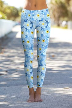 Forget-Me-Not Lucy Blue Floral Print Eco Leggings - Women