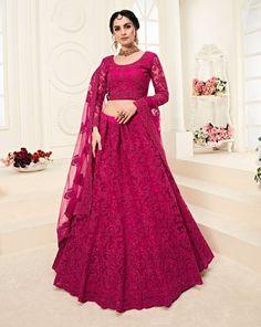 Set anew in a fresh and appealing form dressed in this Rani Pink Color Net Designer Embroidred Plus Size Lehenga Choli. lehenga is fashioned with elegant c Pink Lehenga, Net Lehenga, Lehenga Style, Bridal Lehenga Choli, Indian Lehenga, Wedding Lehnga, Lehnga Dress, Ghagra Choli, Silk Dupatta