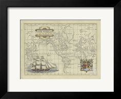 Antique Map of the World Art Print by Vision Studio at Art.com