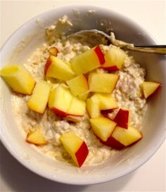 """Breakfast: yogurt and oatmeal """"cooked"""" in the frig overnight and topped with fruit."""