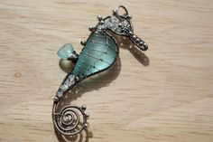 Seahorse with seaglass