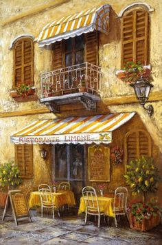 Dining Al Fresco (Malcolm Surridge) Katsura Kotonoha, Watercolor Architecture, Cafe Art, Room Pictures, Mellow Yellow, Beautiful Paintings, Painting & Drawing, Landscape Paintings, Amazing Art