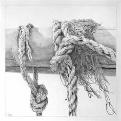 *Ropes and Spars - 1* a graphite pencil drawing by me, Dennis Candy; 10 x 10 inches.