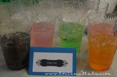 Glasses have kool-aide powder in the bottom. When you add the cold sprite, it magically changes color!