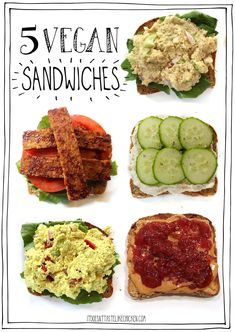 Just because you're eating vegan doesn't mean you have to go way out of your comfort zone. So I designed these 5 Vegan Sandwiches (one for every day of the work or school week), to be delicious, easy, and familiar! Vegan Sandwich Recipes, Vegan Sandwiches, Delicious Vegan Recipes, Easy Healthy Recipes, Vegan Vegetarian, Vegetarian Recipes, Eating Vegan, Easy Vegan Lunch, Vegetarian Breakfast