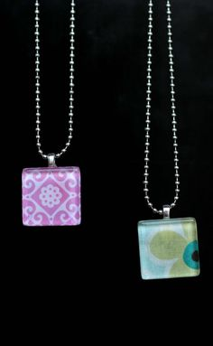 glass tile pendants, saw organdy ribbons in lieu of ball chain - was really cute