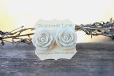 Large CreamIvory Rose Flower Stud Earrings by peachtreelane, $8.00