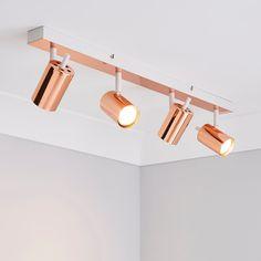 Copper Light Fixture, Brass Ceiling Light, Kitchen Ceiling Lights, Copper Lighting, Ceiling Spotlights, Bar Lighting, Kitchen Spotlights, Kitchen Lighting Fixtures, Bathroom Lighting