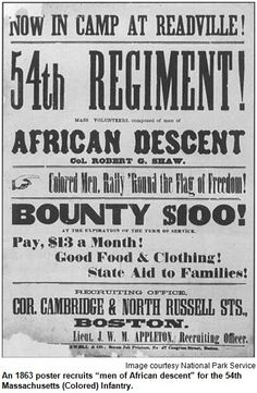 Photos of Soldiers of the Massachusetts Regiment Recruitment Poster to join the Regiment The Robert Gould Shaw and Massachusetts Regiment Memorial in Boston Paintings of the Battle at Fort Wagner Us History, History Facts, Black History, History Online, History Photos, History Books, Famous African Americans, African American History, Native American