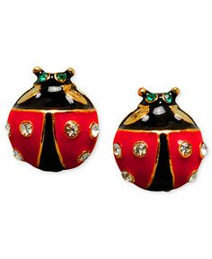 Betsey Johnson Earrings, Ladybug Stud - Fashion Jewelry - Jewelry & Watches - Macy's