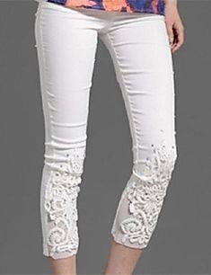 Femme Slim Jeans Pantalon Plage Couleur Pleine Taille Normale Bouton Coton Polyester Nylon Extensible Eté