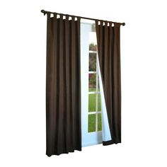 Thermalogic Weather Cotton Fabric Window Tab Panels Pair Chocolate